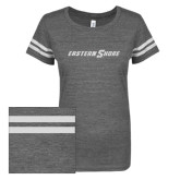 ENZA Ladies Dark Heather/White Vintage Triblend Football Tee-Eastern Shore Glitter