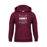Youth Maroon Fleece Hoodie-Baseball Ball Design