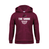 Youth Maroon Fleece Hoodie-Basketball Net Design