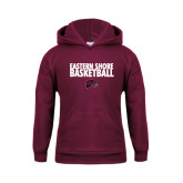 Youth Maroon Fleece Hoodie-Basketball Stacked