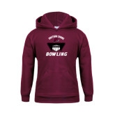 Youth Maroon Fleece Hoodie-Bowling Pins Design