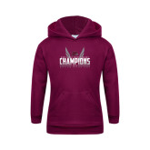 Youth Maroon Fleece Hoodie-Mens MEAC Cross Country Champions 2016