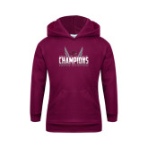 Youth Maroon Fleece Hoodie-Womens MEAC Cross Country Champions 2016