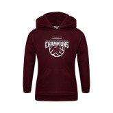 Youth Maroon Fleece Hoodie-MEAC Volleyball Champions 2016