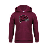 Youth Maroon Fleece Hoodie-Hawk Head