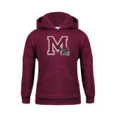 Youth Maroon Fleece Hoodie-M w/ Hawk
