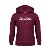 Youth Maroon Fleece Hoodie-The Shore Script