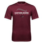 Performance Maroon Tee-Baseball Seams Stacked Design