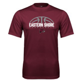 Performance Maroon Tee-Basketball Half Ball Design Half Ball Design