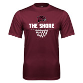 Performance Maroon Tee-Basketball Net Design