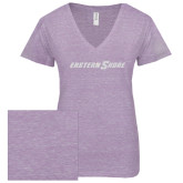 ENZA Ladies Violet Melange V Neck Tee-Eastern Shore Glitter