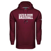 Under Armour Maroon Performance Sweats Team Hoodie-Baseball Stacked