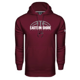 Under Armour Maroon Performance Sweats Team Hoodie-Basketball Half Ball Design Half Ball Design