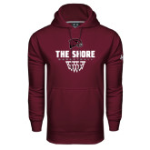 Under Armour Maroon Performance Sweats Team Hoodie-Basketball Net Design
