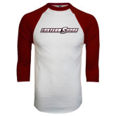 White/Maroon Raglan Baseball T Shirt-Eastern Shore