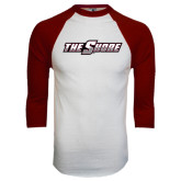 White/Maroon Raglan Baseball T Shirt-The Shore