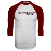 White/Maroon Raglan Baseball T Shirt-Maryland Eastern Shore Hawks