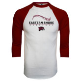 White/Maroon Raglan Baseball T Shirt-Baseball Seams Stacked Design