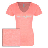 ENZA Ladies Coral Melange V Neck Tee-Eastern Shore Glitter
