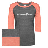 ENZA Ladies Dark Heather/Coral Vintage Triblend Baseball Tee-Eastern Shore Glitter