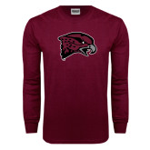 Maroon Long Sleeve T Shirt-Hawk Head