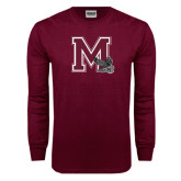 Maroon Long Sleeve T Shirt-M w/ Hawk