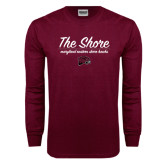 Maroon Long Sleeve T Shirt-The Shore Script