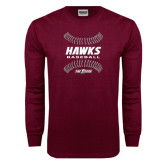 Maroon Long Sleeve T Shirt-Baseball Ball Design