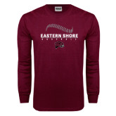 Maroon Long Sleeve T Shirt-Baseball Seams Stacked Design