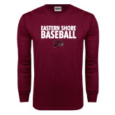 Maroon Long Sleeve T Shirt-Baseball Stacked
