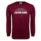 Maroon Long Sleeve T Shirt-Basketball Half Ball Design Half Ball Design
