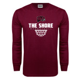 Maroon Long Sleeve T Shirt-Basketball Net Design