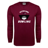 Maroon Long Sleeve T Shirt-Bowling Pins Design