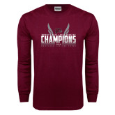 Maroon Long Sleeve T Shirt-Womens MEAC Cross Country Champions 2016