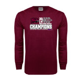 Maroon Long Sleeve T Shirt-2014 Mens Cross Country Champions Stacked