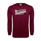 Maroon Long Sleeve T Shirt-2014 Mens Cross Country Champions Rise