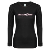 Ladies Black Long Sleeve V Neck T Shirt-Eastern Shore