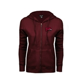 ENZA Ladies Maroon Fleece Full Zip Hoodie-Hawk Head