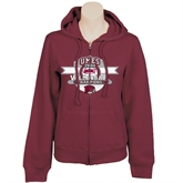 Ladies Maroon Fleece Full Zip Hoodie-2011 Volleyball Champions