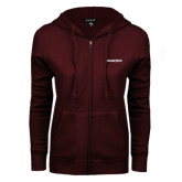 ENZA Ladies Maroon Fleece Full Zip Hoodie-Eastern Shore