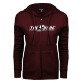 ENZA Ladies Maroon Fleece Full Zip Hoodie-The Shore
