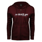 ENZA Ladies Maroon Fleece Full Zip Hoodie-Maryland Eastern Shore Hawks