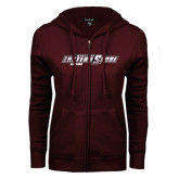 ENZA Ladies Maroon Fleece Full Zip Hoodie-Bowling