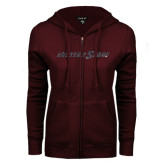 ENZA Ladies Maroon Fleece Full Zip Hoodie-Eastern Shore Glitter