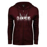 ENZA Ladies Maroon Fleece Full Zip Hoodie-Womens MEAC Cross Country Champions 2016