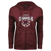 ENZA Ladies Maroon Fleece Full Zip Hoodie-MEAC Volleyball Champions 2016