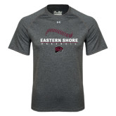 Under Armour Carbon Heather Tech Tee-Baseball Seams Stacked Design