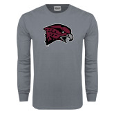 Charcoal Long Sleeve T Shirt-Hawk Head