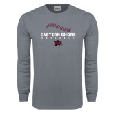 Charcoal Long Sleeve T Shirt-Baseball Seams Stacked Design