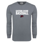 Charcoal Long Sleeve T Shirt-Baseball Stacked